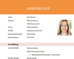 Lebenslauf_Vorlage_Muster_Student_Absolvent_orange