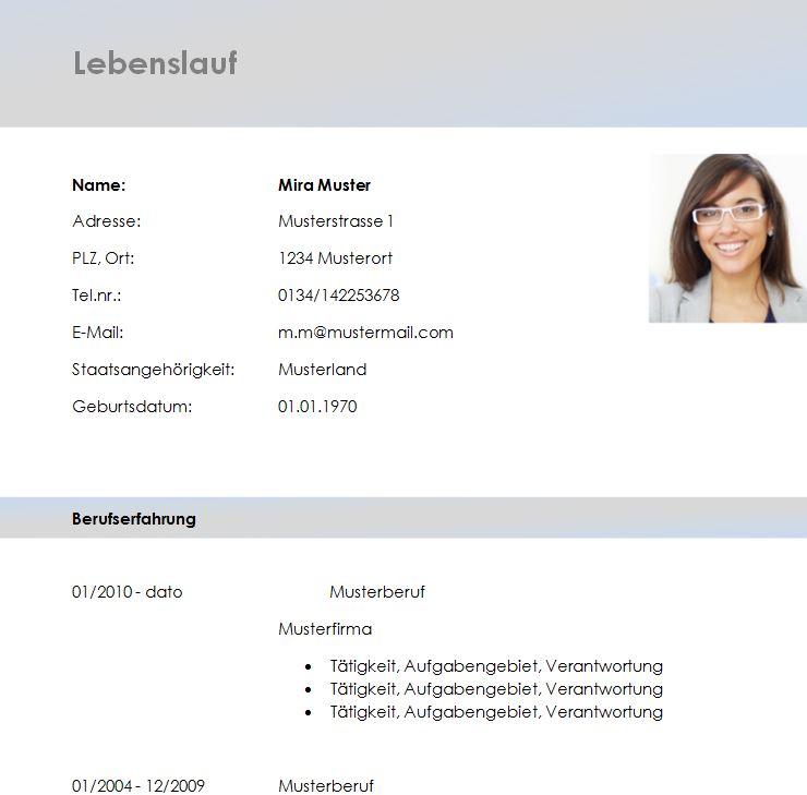 lebenslaufvorlage_grau - Lebenslauf Muster Download