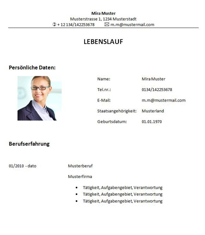 Lebenslauf-Vorlage Bauingenieur bzw. Bauingenieurin