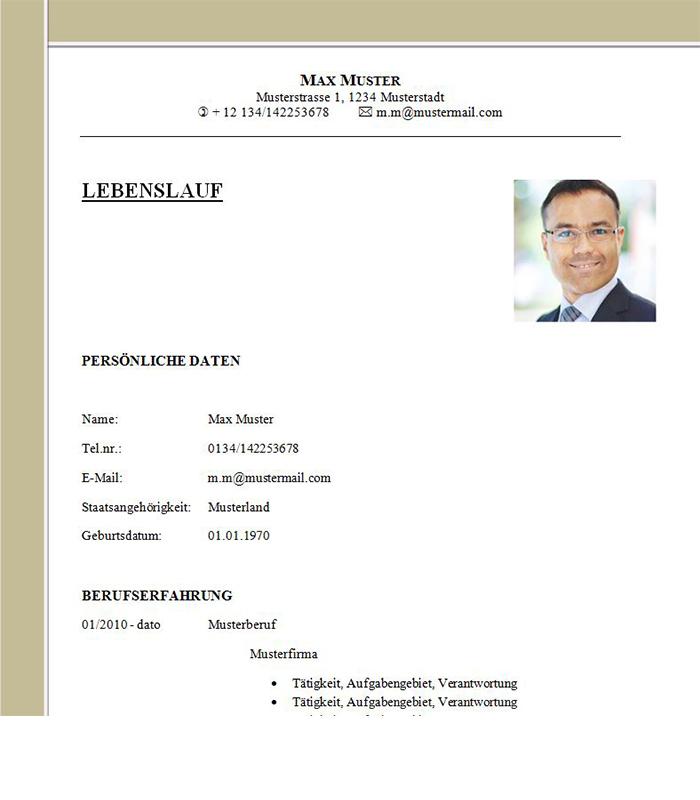 Lebenslauf Vorlage Buchhalter /-In