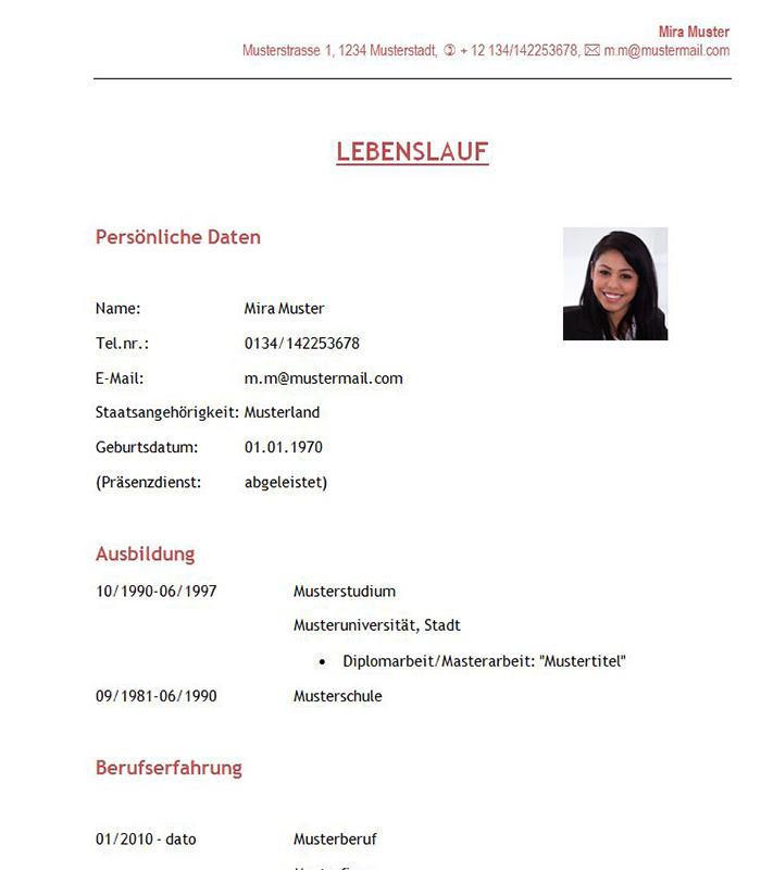 Tabellarischer Lebenslauf Archive » Lebenslaufvorlagen.at