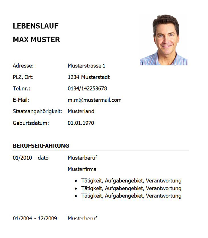 Lebenslauf-Vorlage Key Account Manager bzw. Key Account Managerin