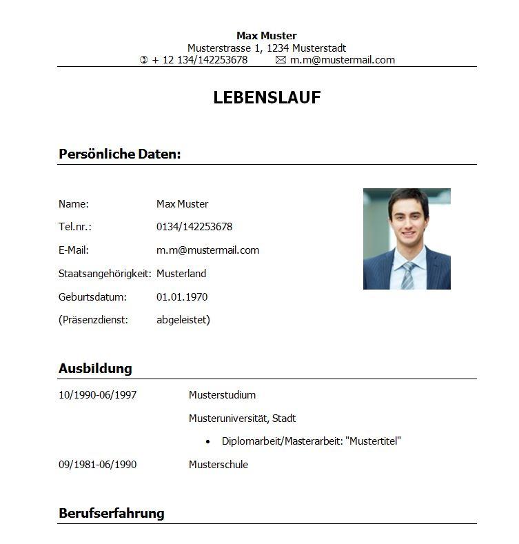 lebenslaufvorlage_student_absolvent_klassisch - Perfekter Lebenslauf Muster